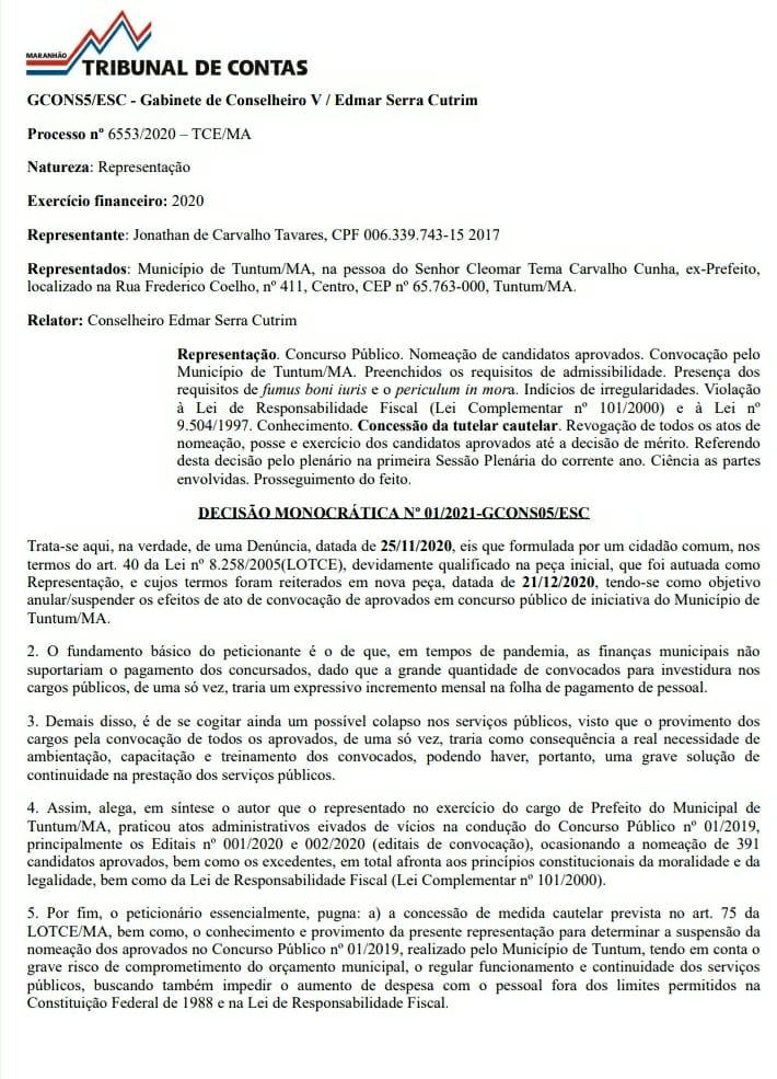 Decisao tce 1 - TCE/MA manda prefeito Fernando Pessoa revogar edital que deu posse aos aprovados em concurso público de Tuntum