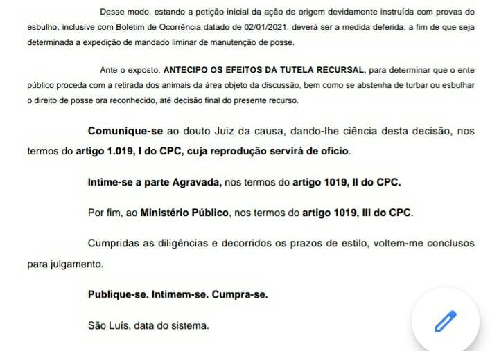 Tribunal de Justiça determina que o município de Tuntum se retire de área que invadiu de empresário